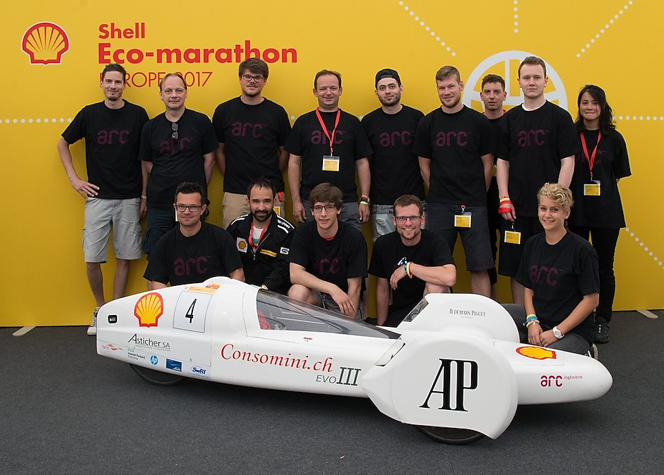 ARC Team Proto from Switzerland line up for a team portrait at Make the Future Live 2017 in London. (Shell)