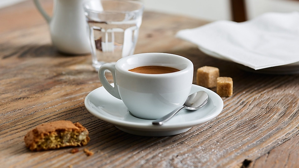 small espresso cup on table